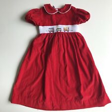 Girls Anavini size 6x red corduroy smocked embroidered circus dress size 6x
