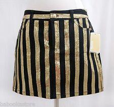 Gorgeous Michael Kors Black & Gold Sequin Stripe Denim Mini Skirt NWT Sz.4