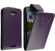 Flip PU Leather Case Cover Pouch Plum/Purple For HTC HTC One S