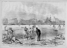 BASEBALL, RED STOCKINGS AND ATHLETICS, PLAYERS IN ENGLAND 1874 ANTIQUE BASE-BALL