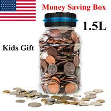 Digital LCD US Coin Counter Counting Jar Money Saving Piggy Bank Box