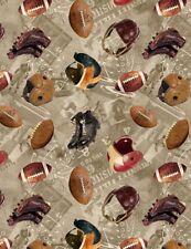 "Sports Fabric - Vintage Football Toss on Beige Plays - Timeless Treasures 34"""
