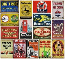 16 Pcs Reproduced Vintage Tin Signs Gas Oil Car Metal Sign Garage Man Cave Bar