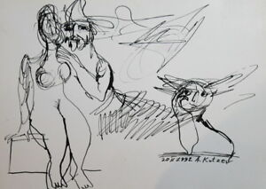 1992 - INK DRAWING ABSTRACT NUDE FIGURES RISQUE VOYEUR SIGNED