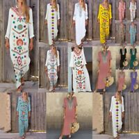 Women Long Sleeve Boho Cotton Casual V Neck Kaftan Maxi Dress Long Dress Hot LO