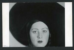 Original Photographic Print on Photo Postcard Paper Head of Dancer Lotte Jacobi