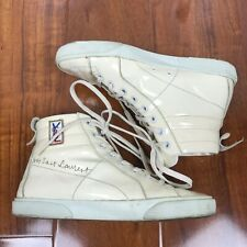 YSL Yves Saint Laurent Classic High Top Sneaker in Cream Patent Leather Size 36