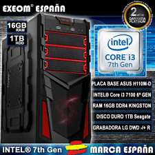 Ordenador Gaming Pc Intel Core i3 7100 7th Gen 16GB DDR4 1TB HDD De Sobremesa