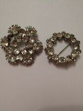 Silver Tone Must See! Free Ship! Rhinestone Brooch Lot Of 2 /