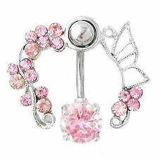 Pink CZ Rhinestone Gem Butterfly Flower Vine 14G Belly Navel Ring Body Jewelry