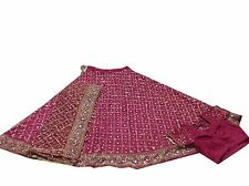 VINTAGE INDIAN WOMEN BRIDAL WEDDING LEHENGA HAND BEADED NET PINK,L-6