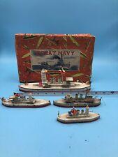 Wooden Great Navy Toy Battleships X 4 Made in Japan w/ Original Box Pre War