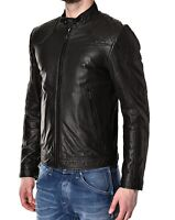 DIESEL Men's LALETA Black Leather Biker Jacket, size Small