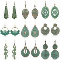 Bohemian Ethnic Tribal Retro Women Bronze Carved Ear Stud Hook Dangle Earrings