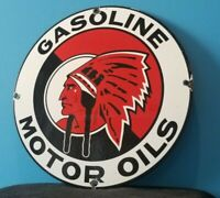 VINTAGE RED INDIAN GASOLINE PORCELAIN GAS MOTOR OIL NATIVE AMERICAN SERVICE SIGN