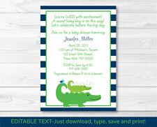Preppy Alligator Printable Baby Shower Invitation EDITABLE PDF