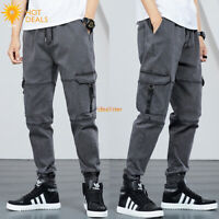 New Men`s Retro Gray Loose Denim pants Harem Taper Fit Baggy Cargo Jogger Jeans