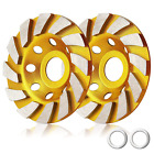 2 Pieces Diamond Cup Grinder Wheels Angle 4 Inch Concrete Turbo Large 12 Segs