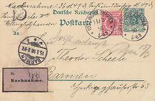 1898 Germania carta nachnahme: contrassegno inviato da wellingholzhausen