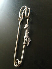 "Giraffe PT4 Silver Emblem on a Scarf and Kilt Pin Pewter 3"" 7.5 cm"
