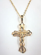 """Gold Plated Filigree Cut-Out Crucifix 1 1/4"""" Pendant 20"""" Cable Chain USA"""