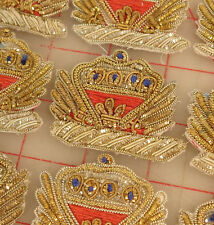 "12 vintage bullion appliques crown design gold silver red blue India 2"" x 1.75"""