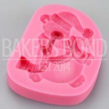 Christmas Teddy Bear With Saxophone Silicone Mould Fondant Icing Cake Cupcake
