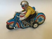 Vintage Tin Litho Wind Up Motorcycle with Sidecar