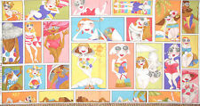Loralie Harris Fabric - Lazy Beach Lady Sun Surf Ocean Sea 692-111 Scene - Panel