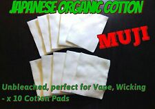 MUJI-10x Japanese organic cotton 90x70mm Unbleached For Wick RDA RTA COIL
