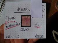 BAHAMAS QUEEN VICTORIA 1D CARMINE ROSE  F/U  STAMP SG 48