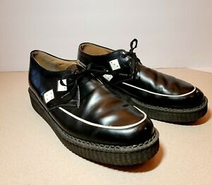 """Vintage TUK BLACK LEATHER DICE 1.5"""" CREEPERS -Size M11 W13 - MADE IN ENGLAND"""