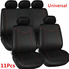 11 Pcs Full Seat Cover Set Universal Car Front+Rear Seat Cover Cushion Black+Red