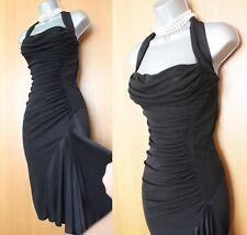 Karen Millen Black Jersey Halterneck Ruched Open Back Occasion Dress UK 10 EU 38