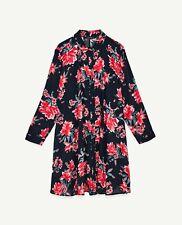 Zara Blue Floral Print A-Line Mini Dress Shirt Dress Button Size M UK 10 12 14