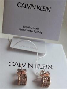 CALVIN KLEIN ROSE GOLD PLATED STAINLESS STEEL CRYSTAL CUBE EARRINGS BNWT BOX £85