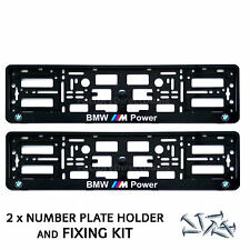 2x BMW M POWER NUMBER PLATE SURROUNDS HOLDER FRAME M1 M3 M5 M6 E60 + FREE FIXING
