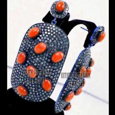 Diamond Coral Studded Silver Earring Jewelry Artdeco Estate 5.80Ct Pave Rose Cut