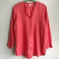 Eileen Fisher Size Medium 100% Organic Linen Tunic Top Shirt Collarless