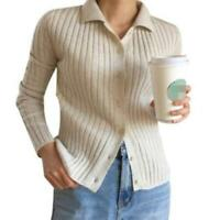 Womens Wool Sweater Knitted Cashmere Button Cardigan Striped Winter Tops Jacket