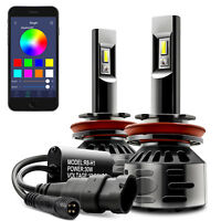 RGB LED Headlight Bulb Conversion Light kit APP Bluetooth Control H1 H4 H7 H11