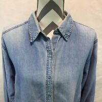 Cathy Daniels Faded Blue Chambray Denim Long Sleeve Snap Front Shirt Large X10