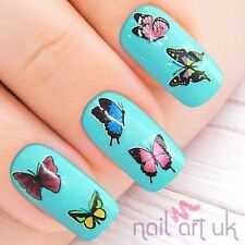Red Pink Butterfly Nail Stickers, Water Decals, Tatoos, Transfers 01.03.045