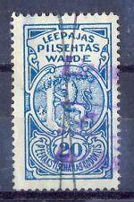 Latvia, 1923, Used 20 santimi revenue stamp No.4 of town Daugavpils