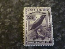 TOGA POSTAGE STAMP SG52 2/6 DEEP PURPLE 1 SMALL PIECE OF PAPER ON GUM SIDE