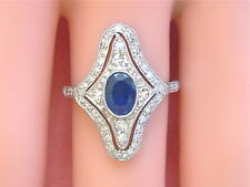 Sapphire .50ctw Diamond Right-Hand Cocktail Ring Edwardian to Art Deco 1ct Oval