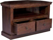 Fab Furnish Solid Sheesham Wooden Corner TV Cabinet Unit Stand for Living Roomtv