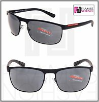 PRADA LINEA ROSSA 54Q Matte Black Mirrored Rubber Shield Sunglasses PS54QS
