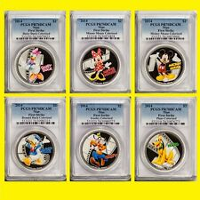 2014 DISNEY CHARACTERS 6 SILVER COINS COMPLETE SET PCGS PR 70 DC FIRST STRIKE