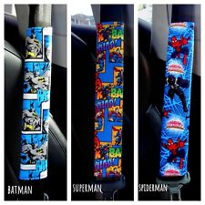 Adult Child Seat Belt Strap Covers Padded use for Car Seat Belt - Superheroes